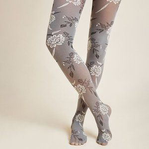 New Hansel from Basel chunky cable knit pompom tights stockings black grey cream